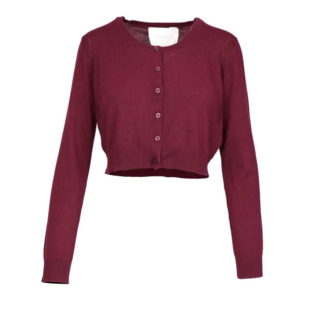 Crew-neck cardigan in viscose and wool blend with buttons Bordeaux Nenette