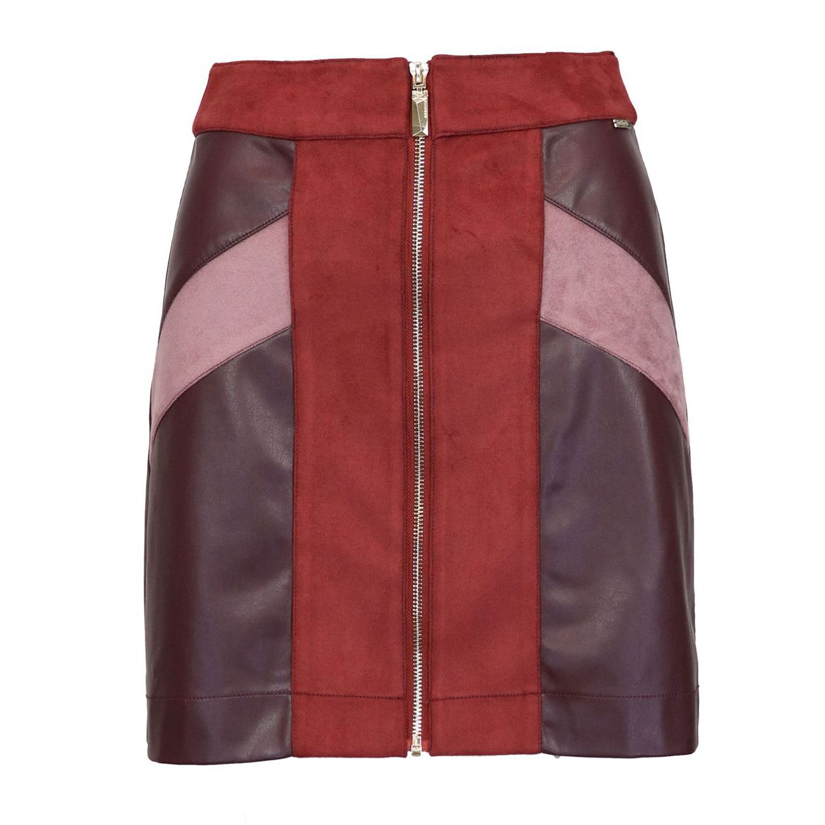 Galuna skirt in faux leather with zip Bordeaux Nenette
