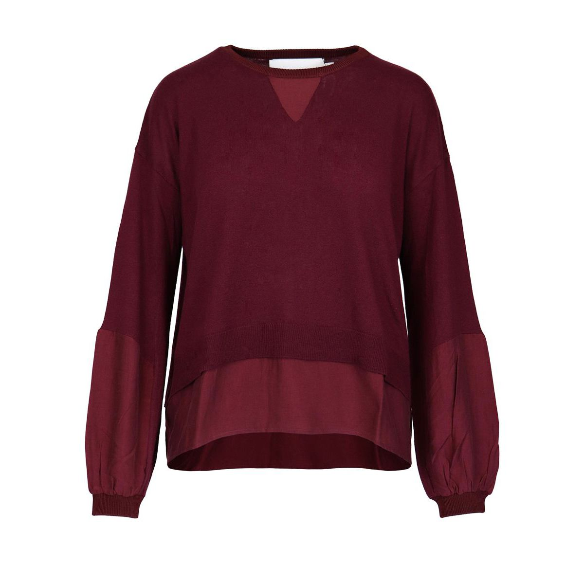 Asymmetric crewneck sweater in viscose and wool blend Bordeaux Nenette