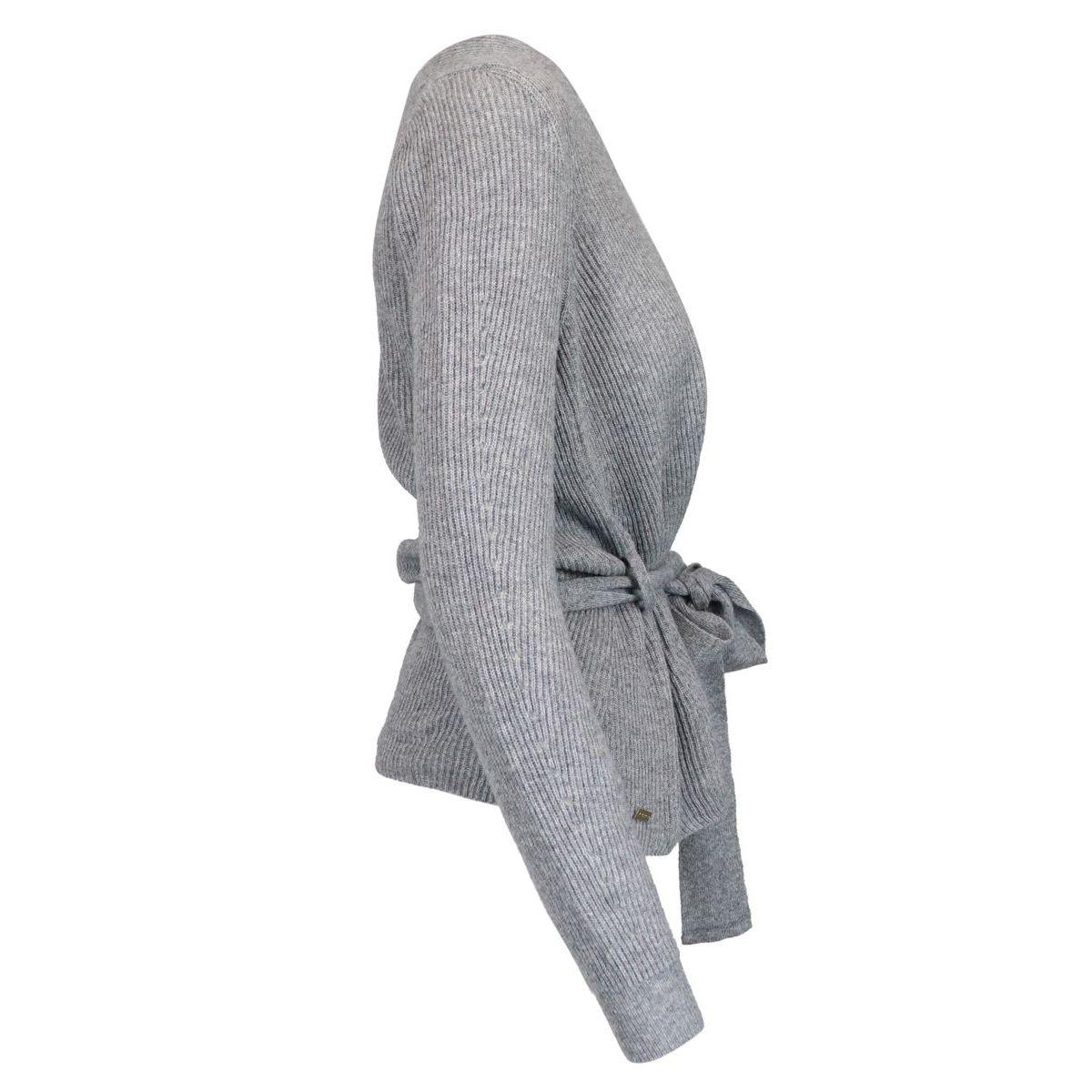 MELISSA V-neck sweater in cashmere blend with waist belt Grey Nenette