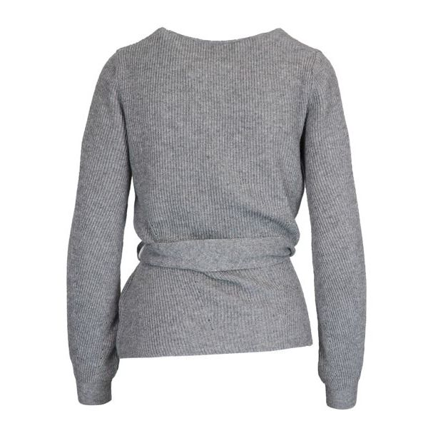 MELISSA V-neck sweater in cashmere blend with waist belt Grey Nenette