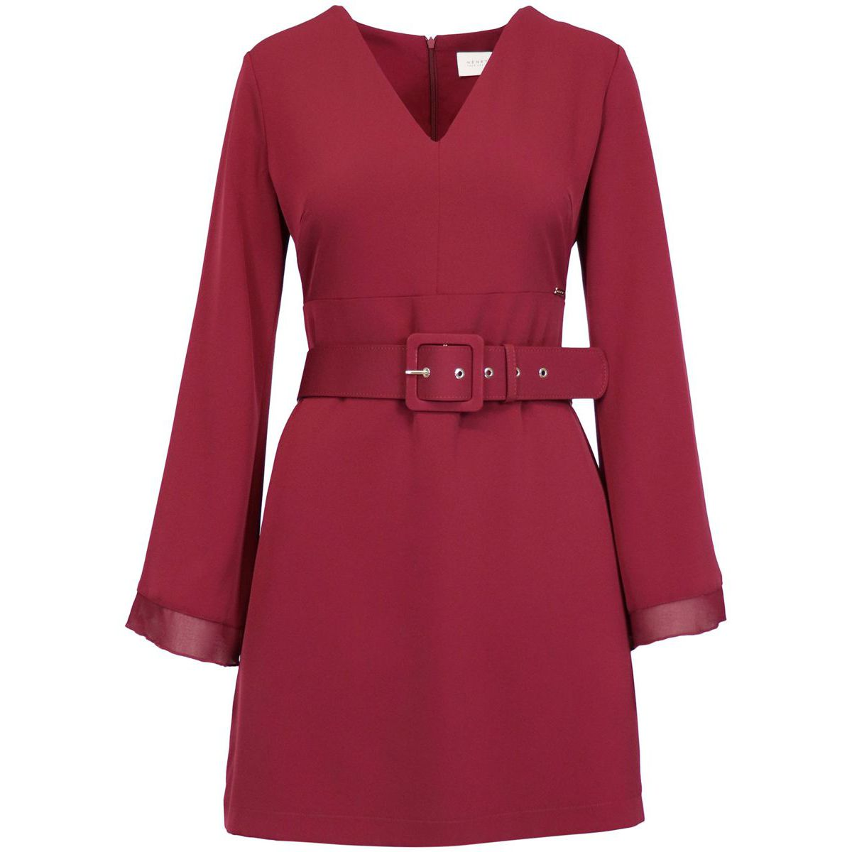 Viscose dress with V-neck and belt Bordeaux Nenette
