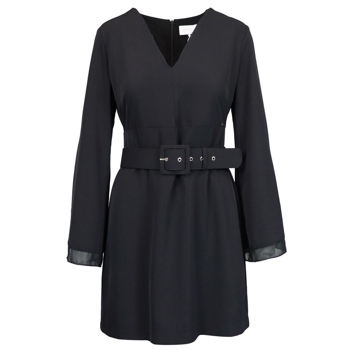 Viscose dress with V-neck and belt Black Nenette