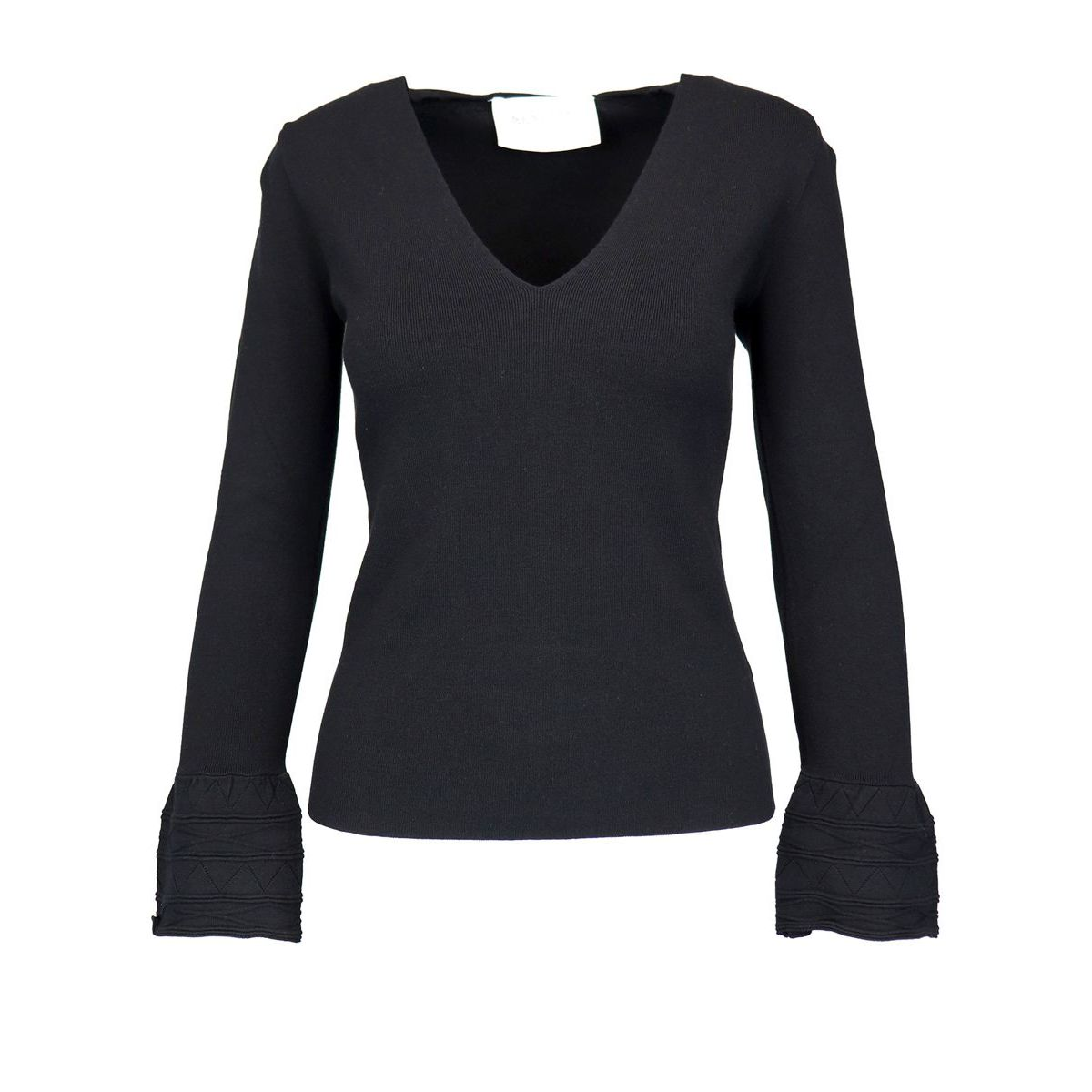Viscose blend sweater with embroidered bell sleeves Black Nenette