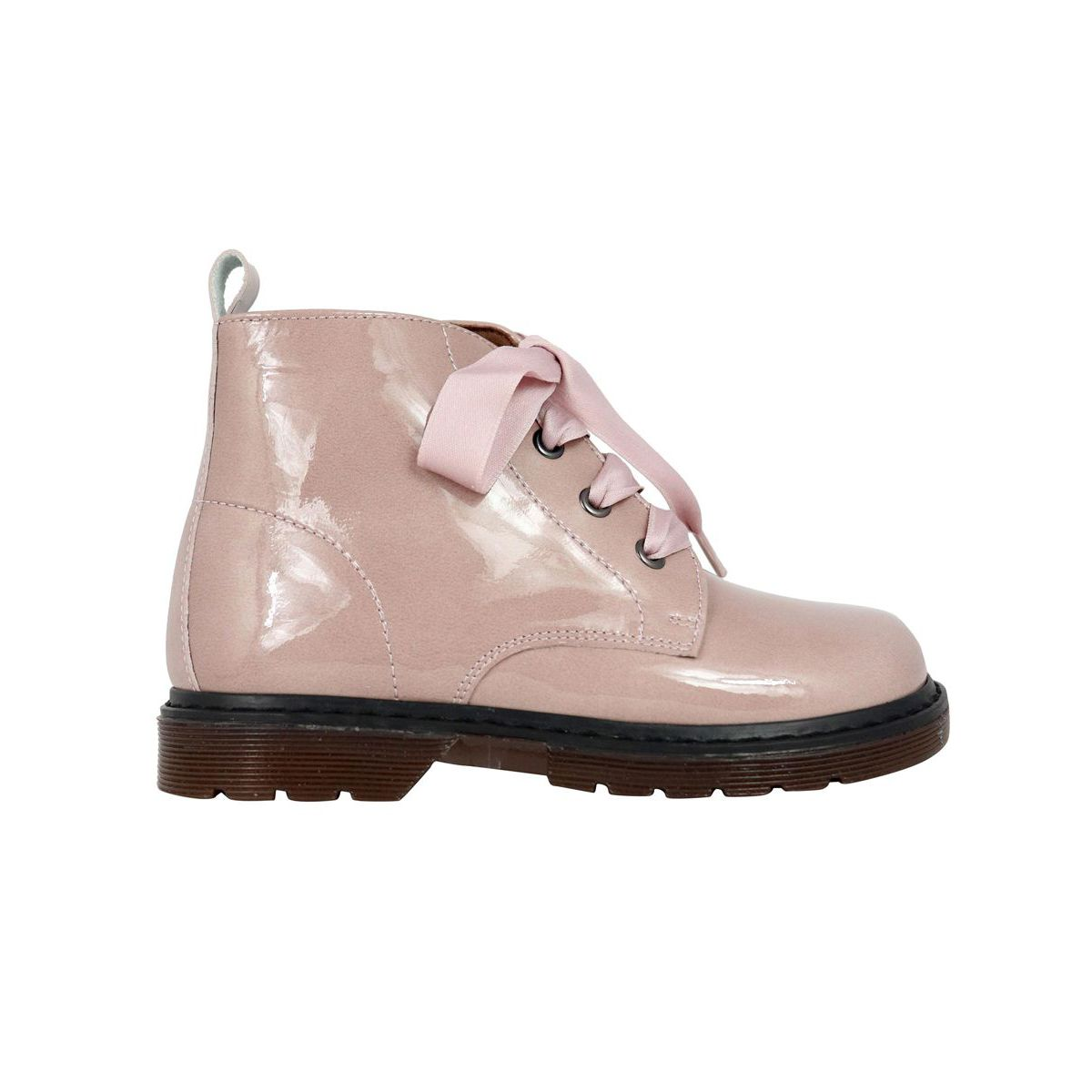 Shiny leather ankle boot with satin laces Rose Clarys