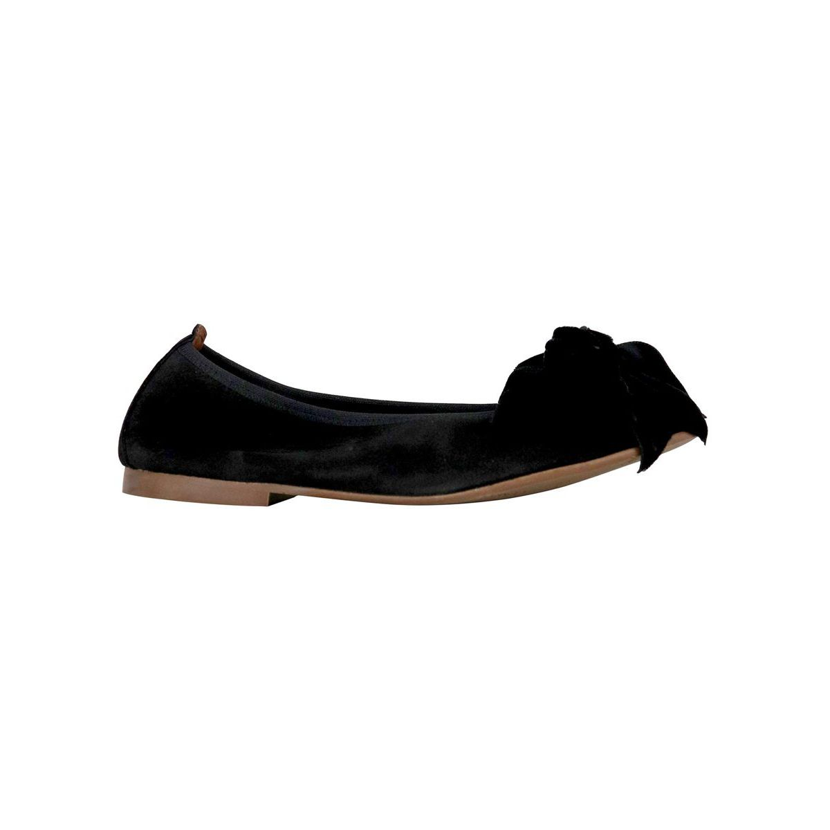 Ballerina in suede leather with bow Black Clarys