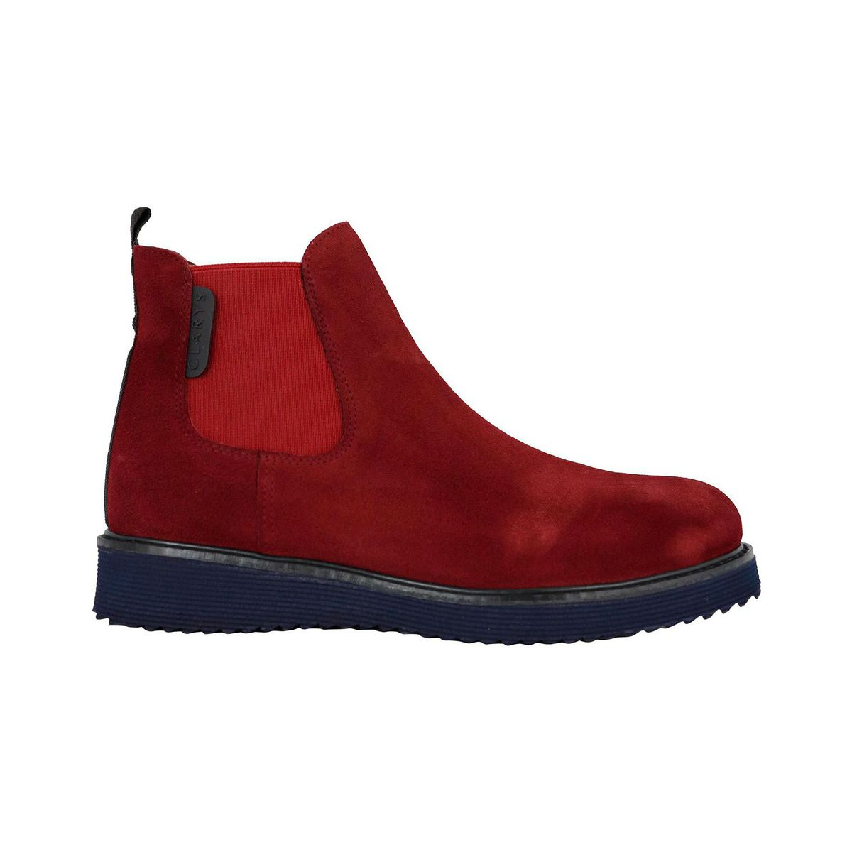 Ankle boot in suede with elastic Bordeaux Clarys