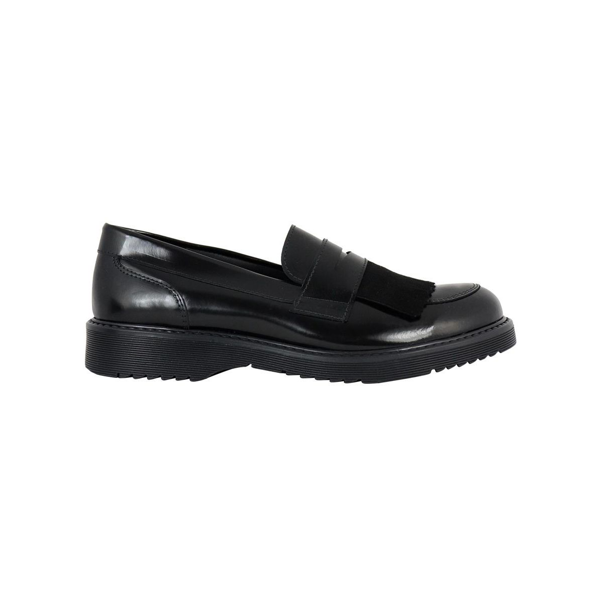 Leather moccasin with fringe detail Black Clarys