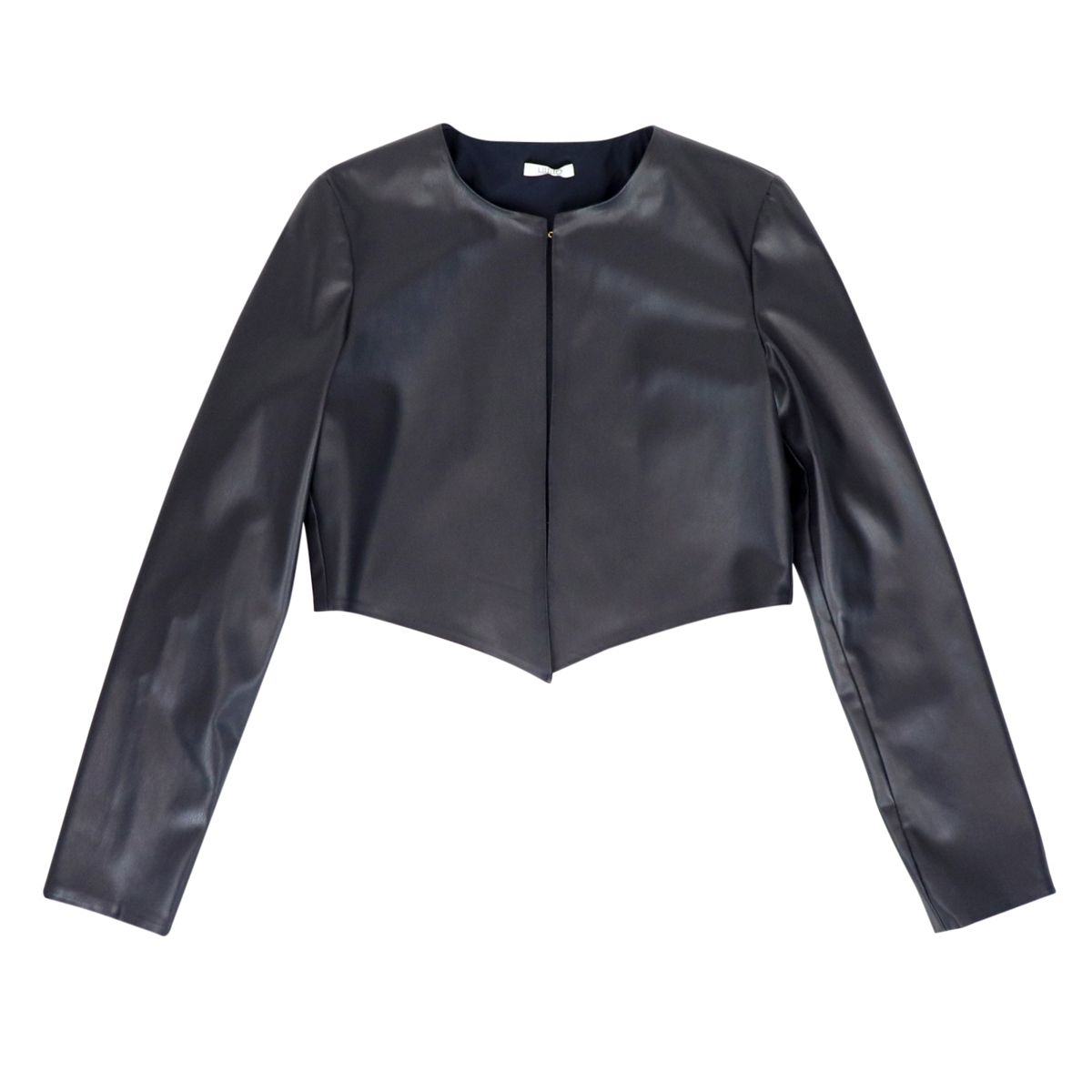 Short open jacket in eco-leather Blue Liu Jo