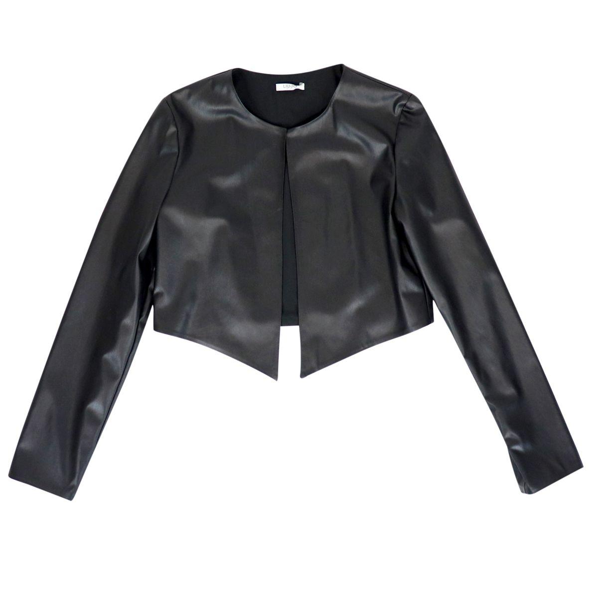 Short open jacket in eco-leather Black Liu Jo