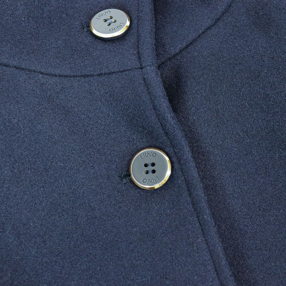 Wool blend coat with buttons and stand-up collar Blue Liu Jo