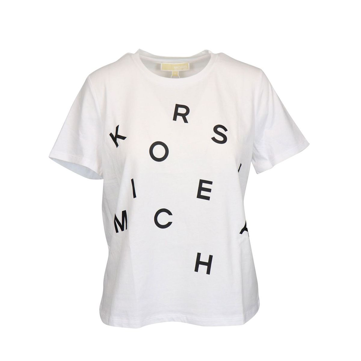 Regular crew neck T-shirt with logo print White Michael Kors