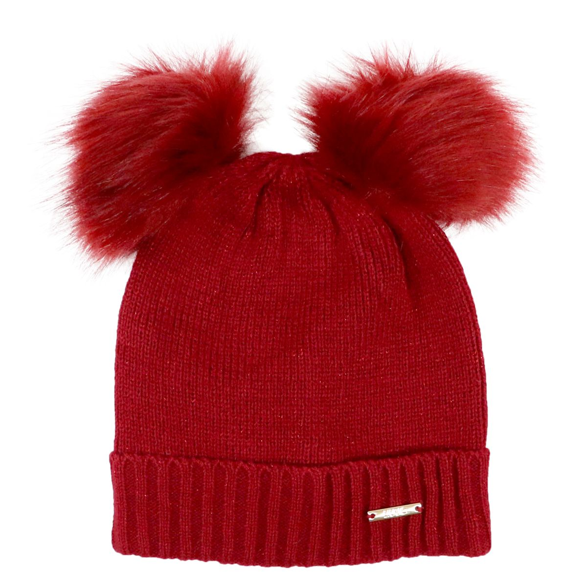 Lurex hat with double ponpon fur Red Liu Jo