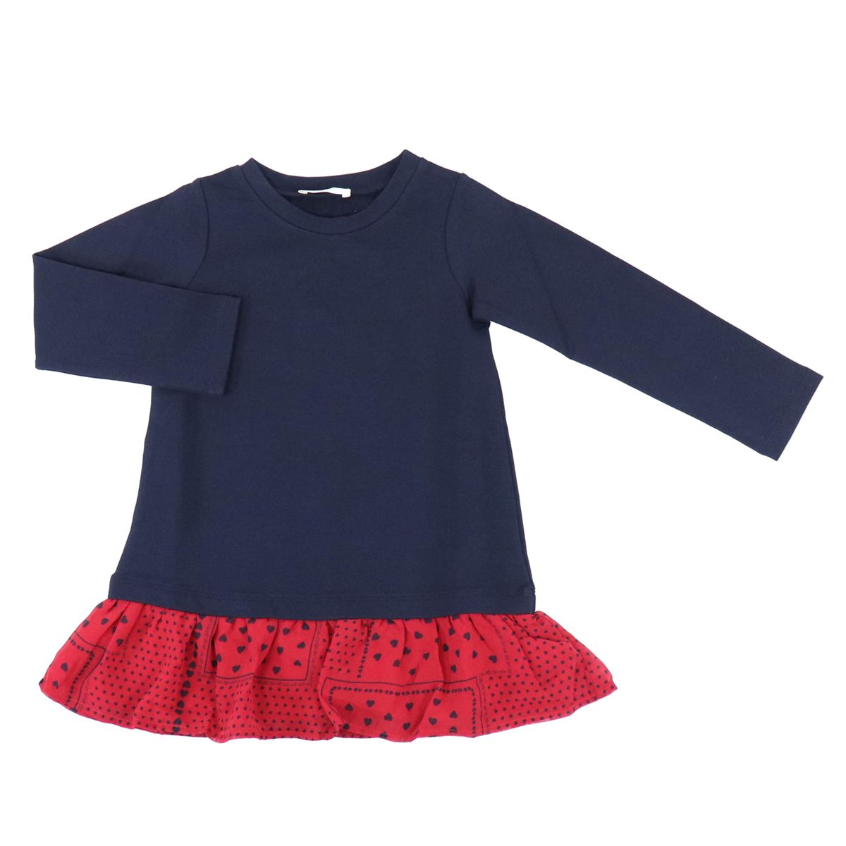 Short dress with flounces on the bottom and applied bow Blue / red Liu Jo
