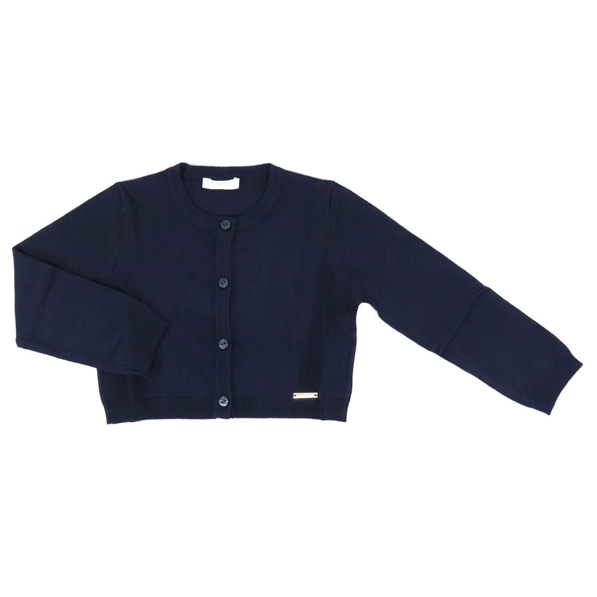 Crew-neck cardigan in viscose blend with buttons Blue Liu Jo