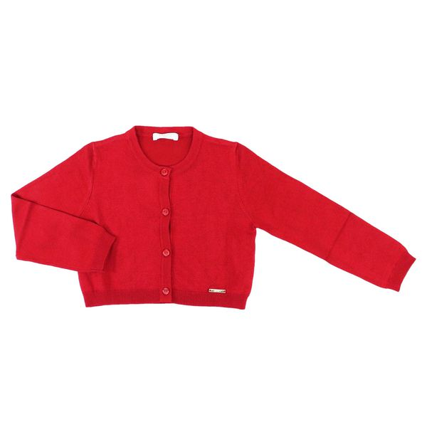 Crew-neck cardigan in viscose blend with buttons Red Liu Jo