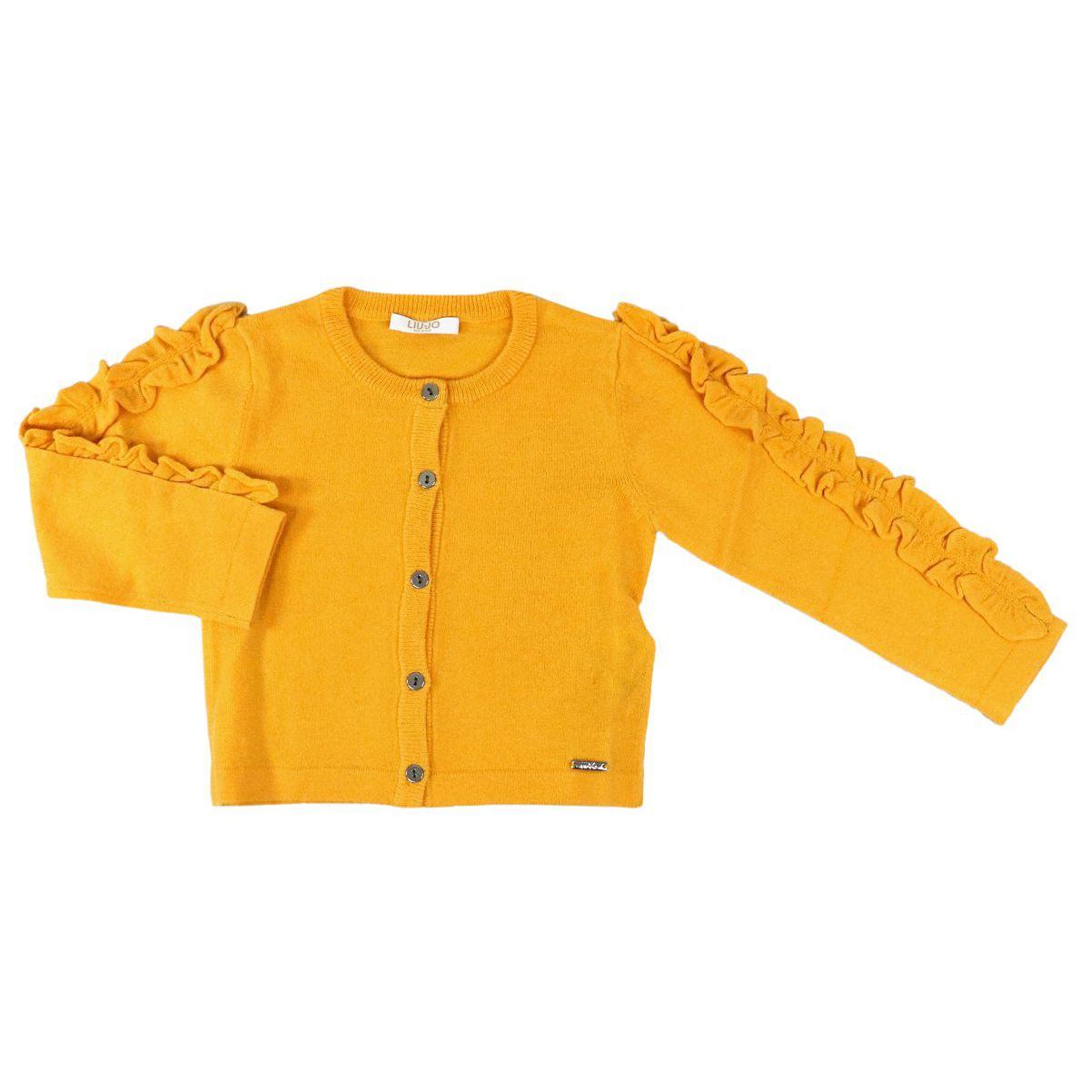 Wool blend cardigan with ruffles on the sleeves Yellow Liu Jo
