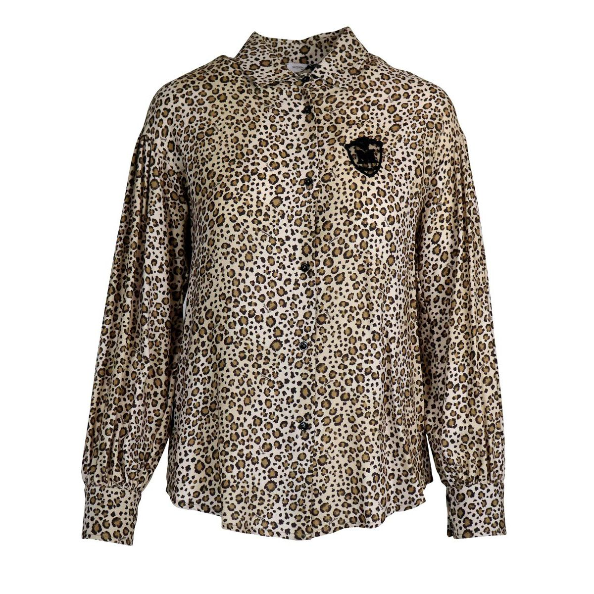 Twill shirt with animal print and tulle insert Animal print Monnalisa