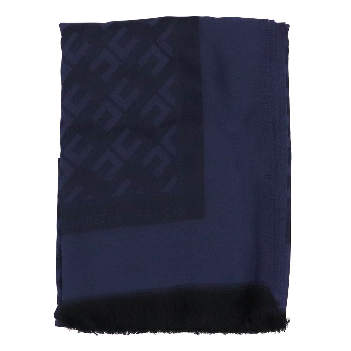 Scarf in viscose and modal blend with monogram Blue Elisabetta Franchi