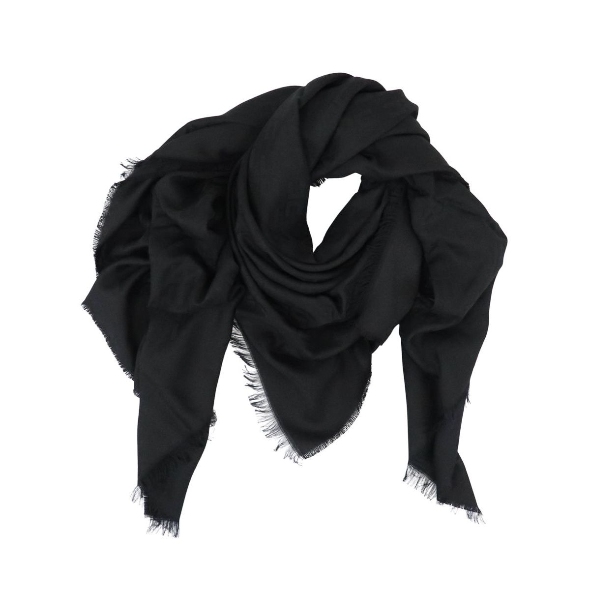 Scarf in viscose and modal blend with monogram Black Elisabetta Franchi
