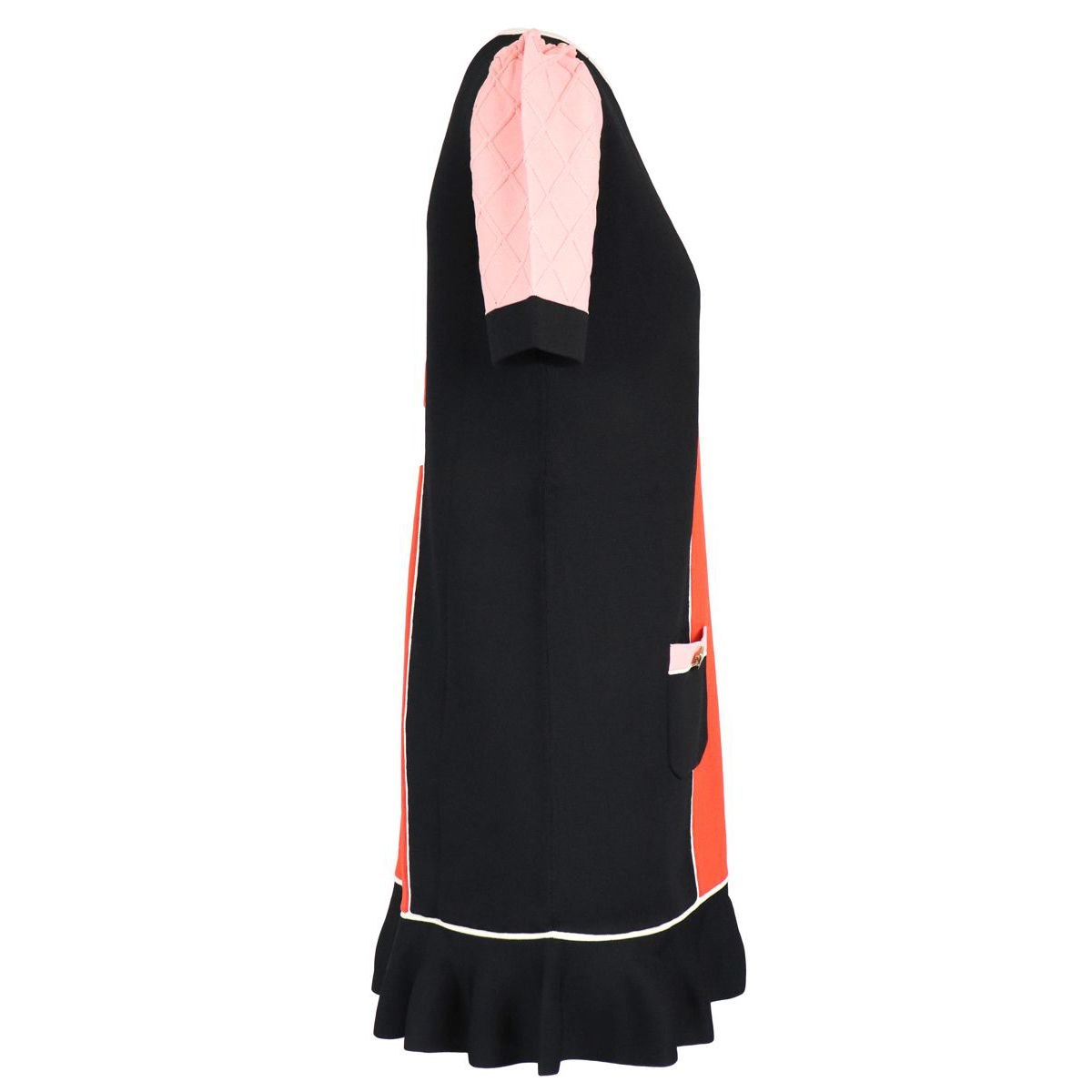 Long dress in viscose blend with front pockets Black red Elisabetta Franchi