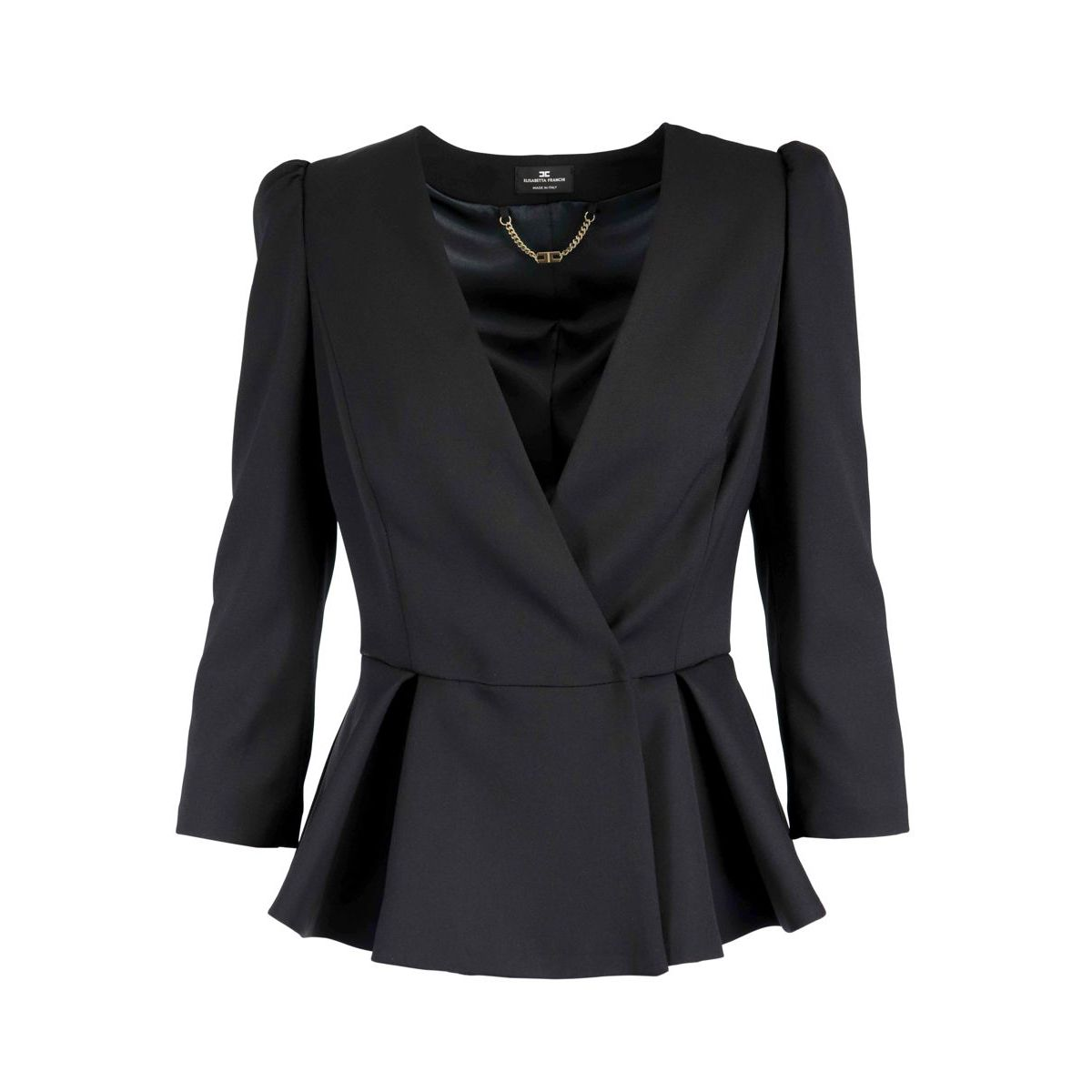 Cropped cady jacket with satin bow Black / butter Elisabetta Franchi