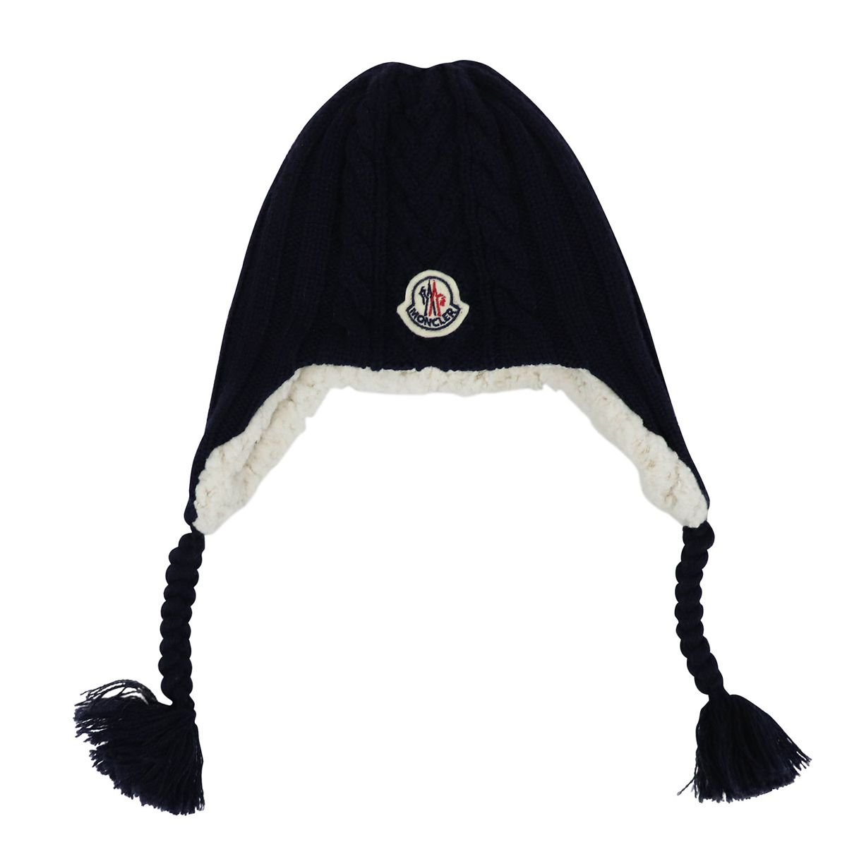 Wool hat with side braids Blue Moncler