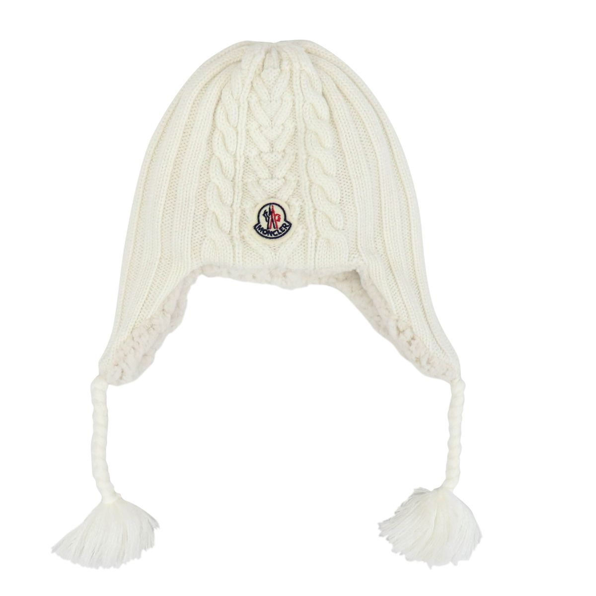 Wool hat with side braids Cream Moncler