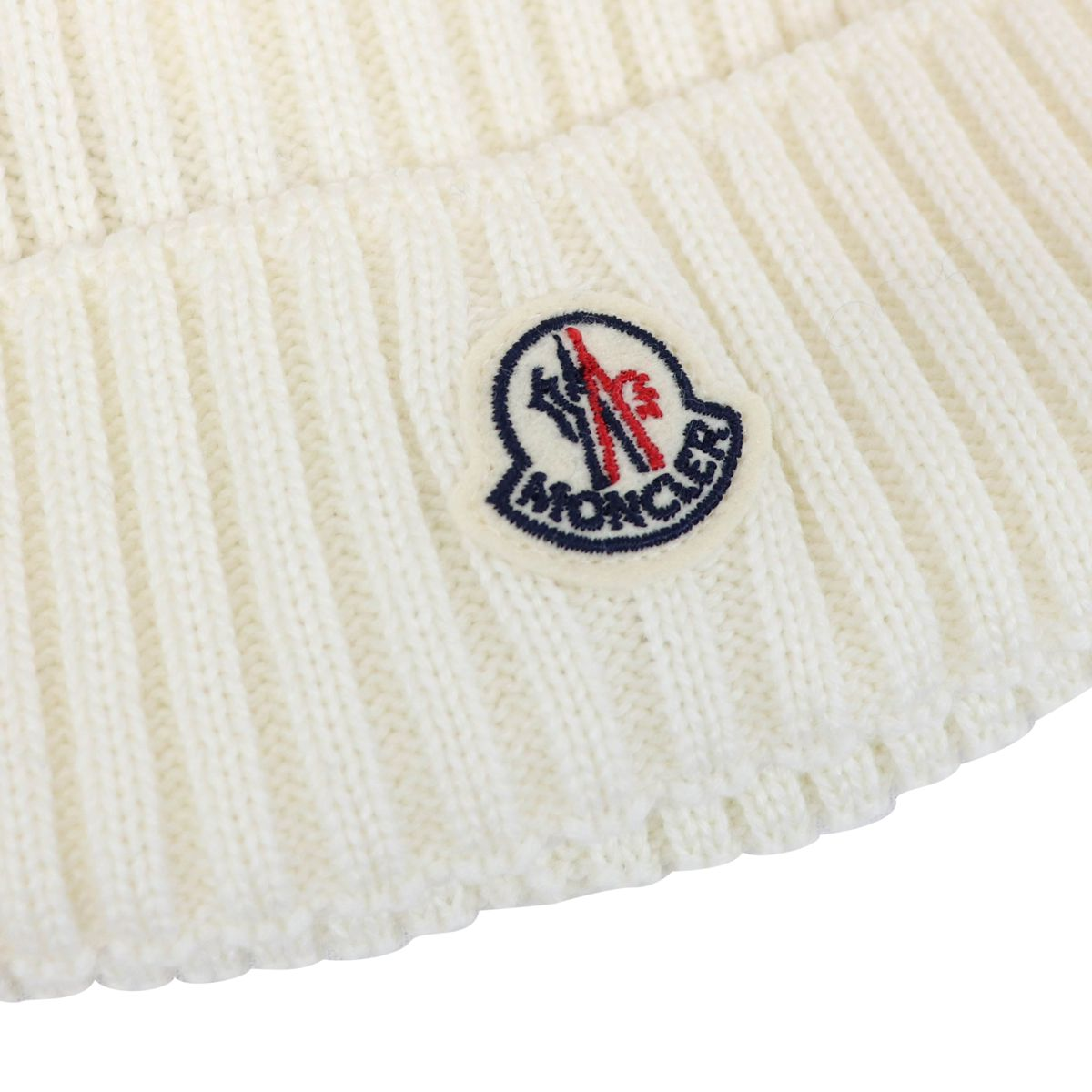 Ribbed wool hat with logo and pon pon Cream Moncler
