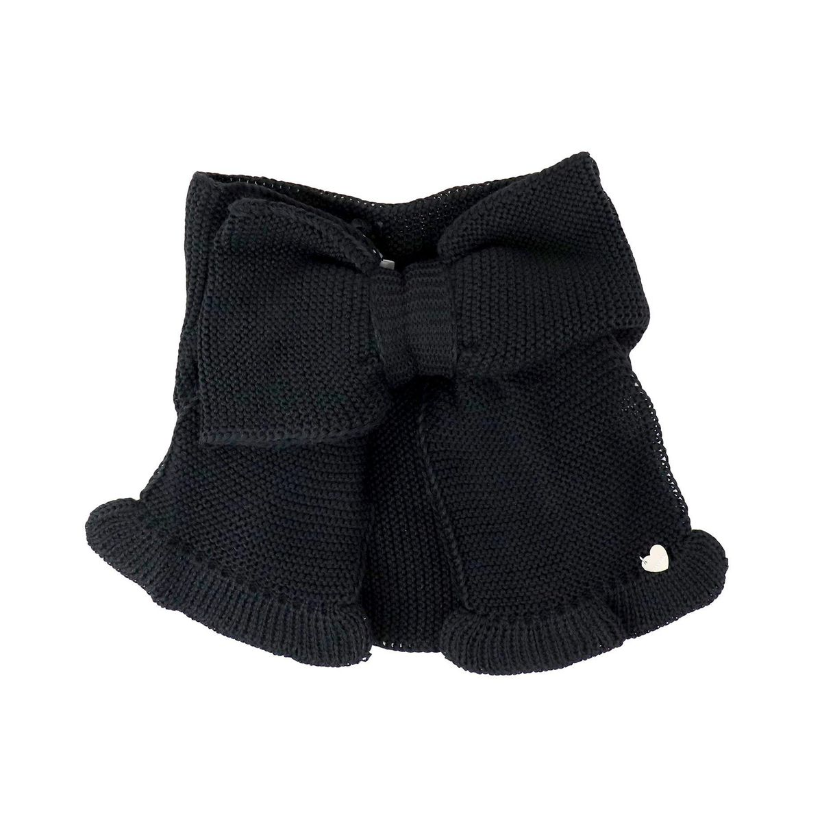 Tricot neck warmer with maxi-belt and rouches Black Monnalisa