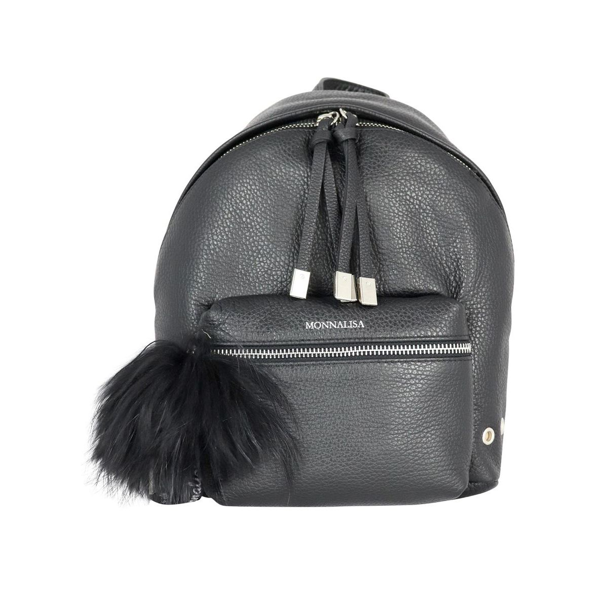 Leather backpack with fur pom poms Black Monnalisa