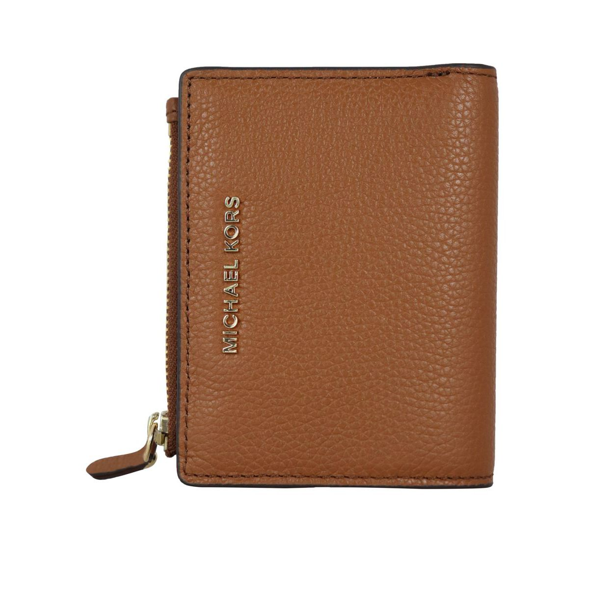Textured leather wallet with zip and logo Leather Michael Kors