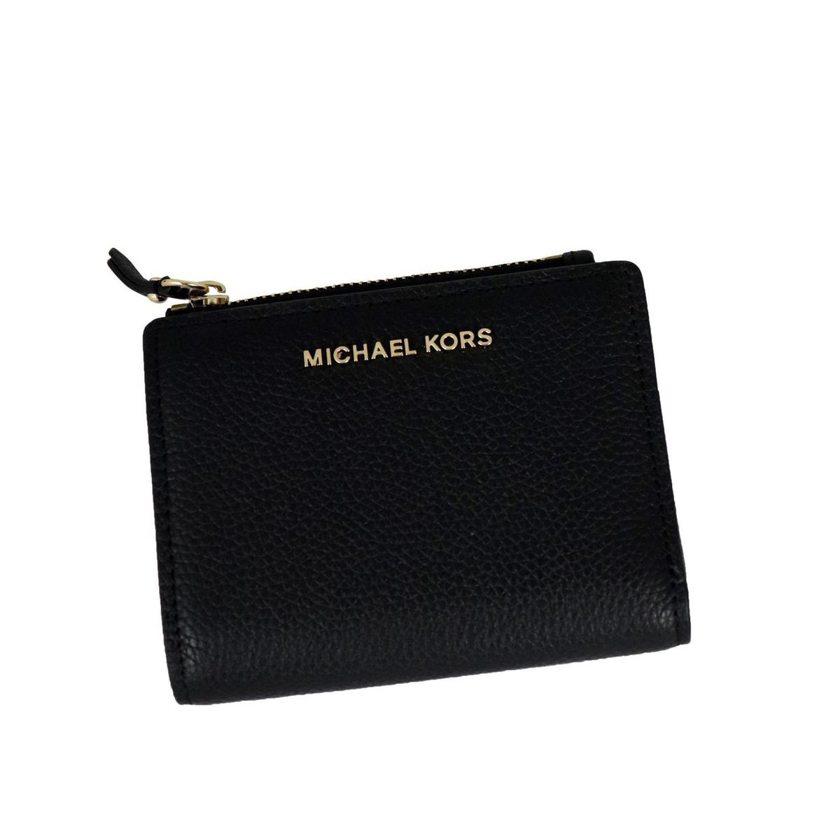 Textured leather wallet with zip and logo Black Michael Kors