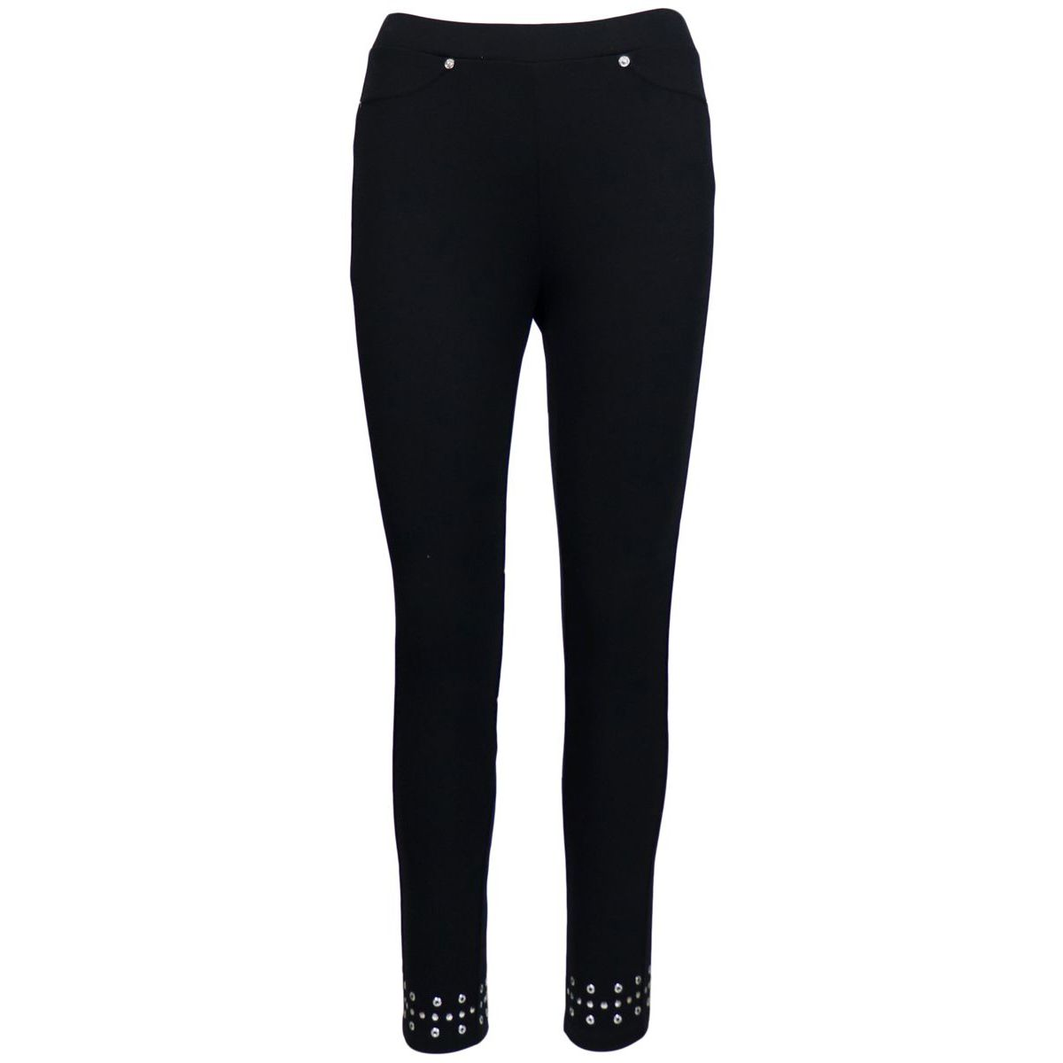 Skinny fit leggings pants with appliqués on the bottom Black / silver Michael Kors
