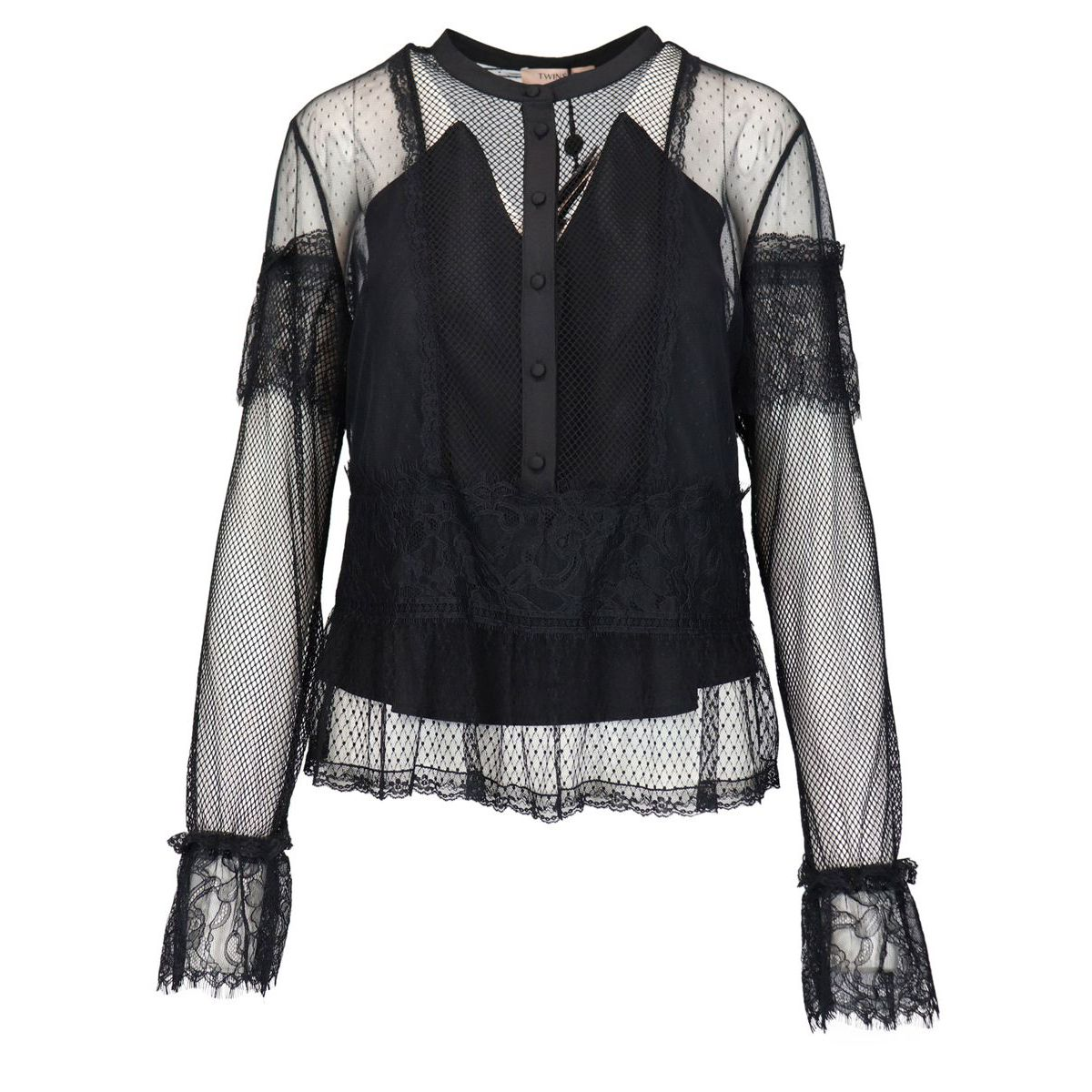 Tulle blouse with lace and plumetis Black Twin-Set