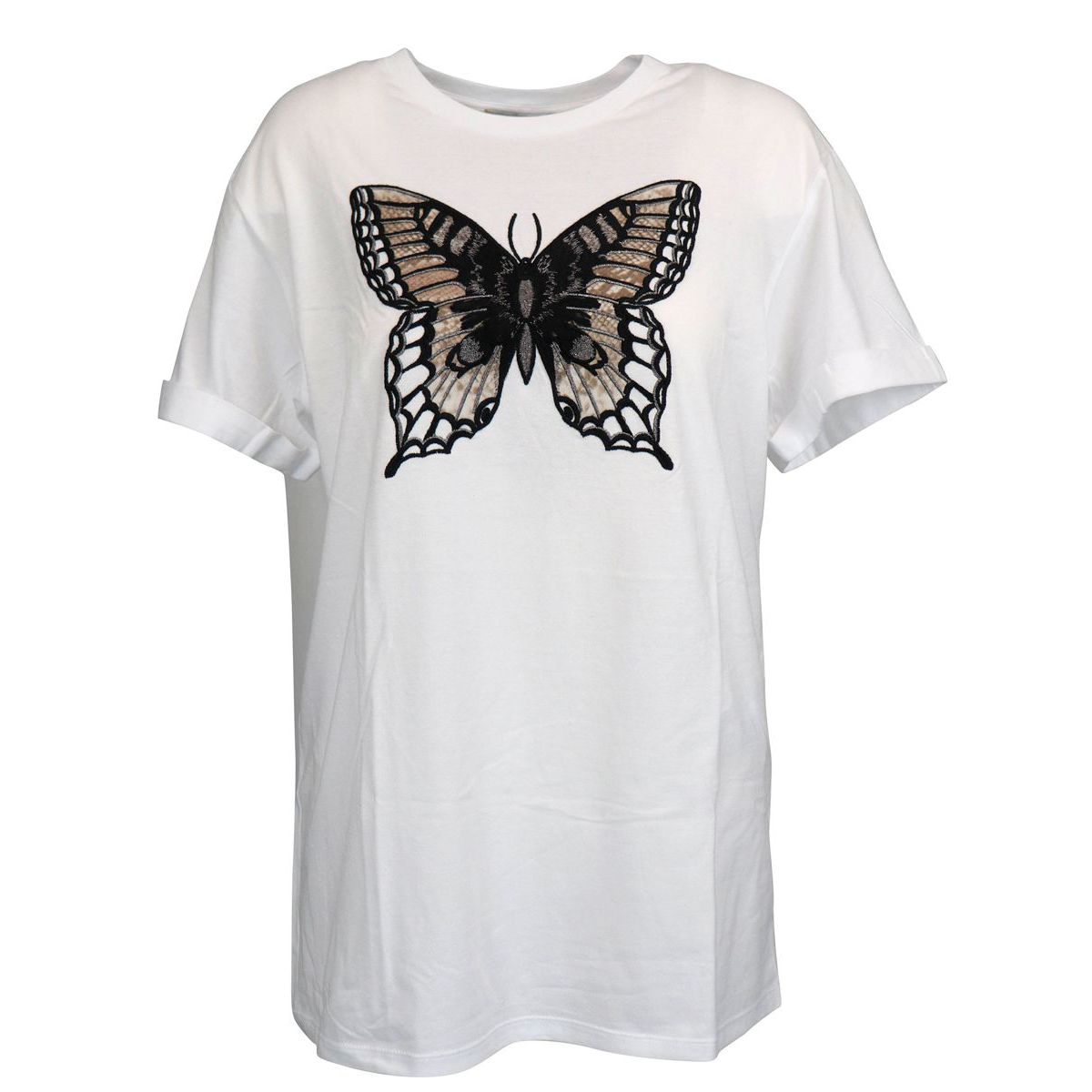 Short sleeve cotton t-shirt with embroidery on the front Optical white Twin-Set