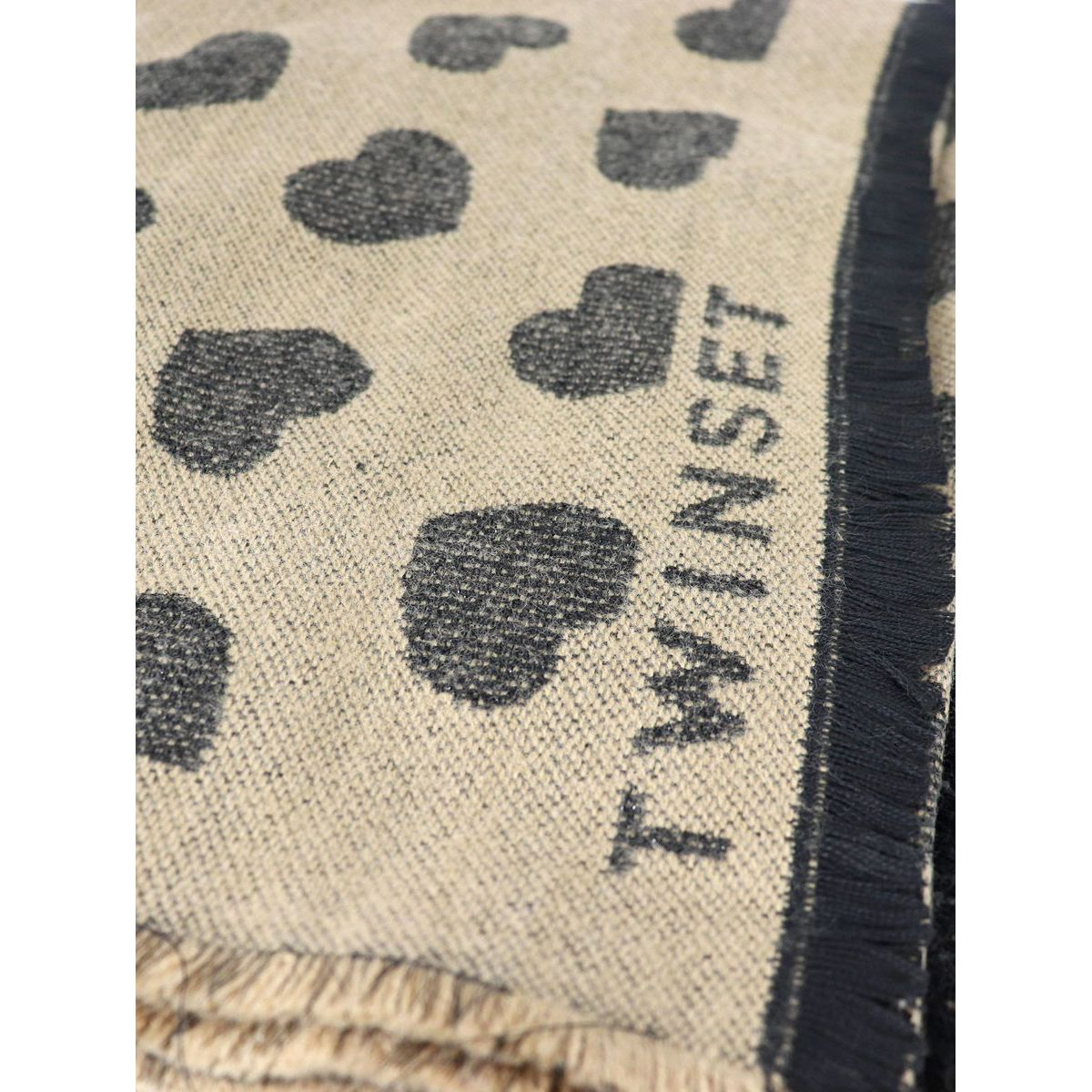 Maxi scarf with hearts and logo design Camel Twin-Set