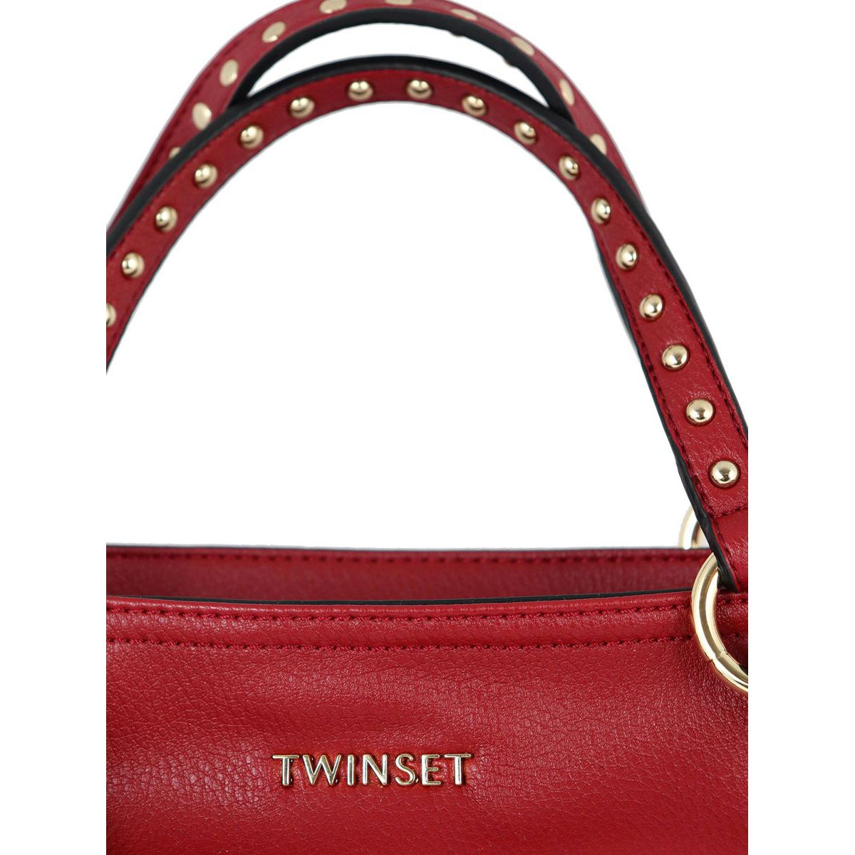 Shopper bag in leatherette with studs Red Twin-Set