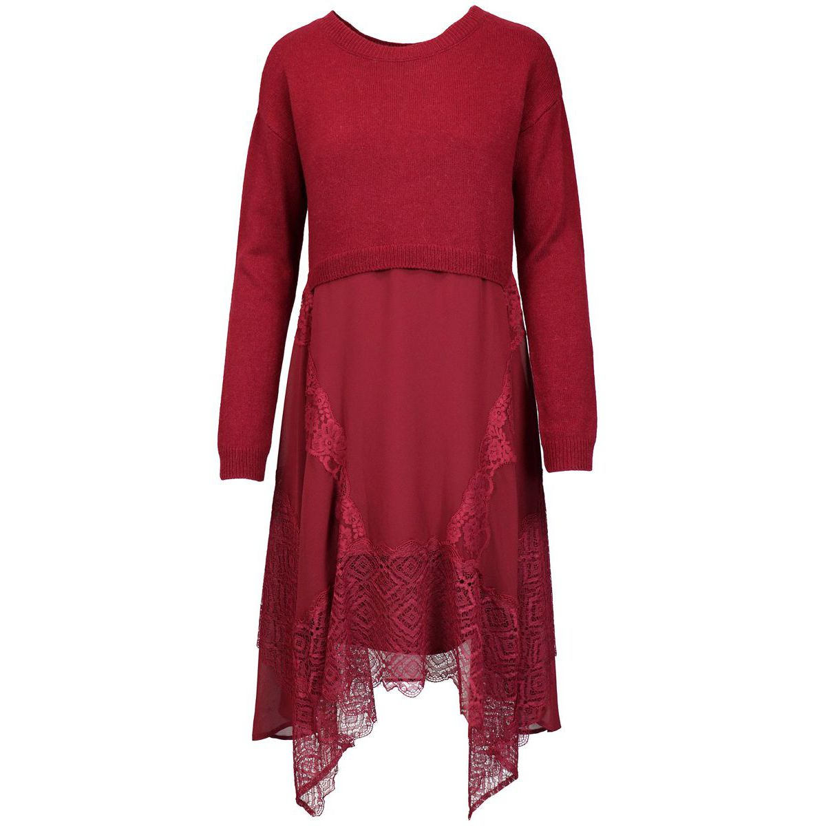Wool blend dress with viscose skirt and lace details Red Twin-Set