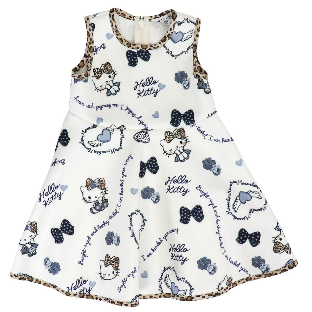 Sleeveless neoprene dress with Hello Kitty print Cream Monnalisa