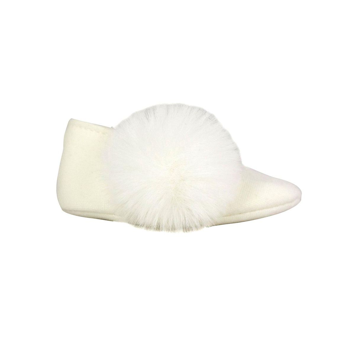 Milan ballerina with faux fur pon pon Cream Monnalisa