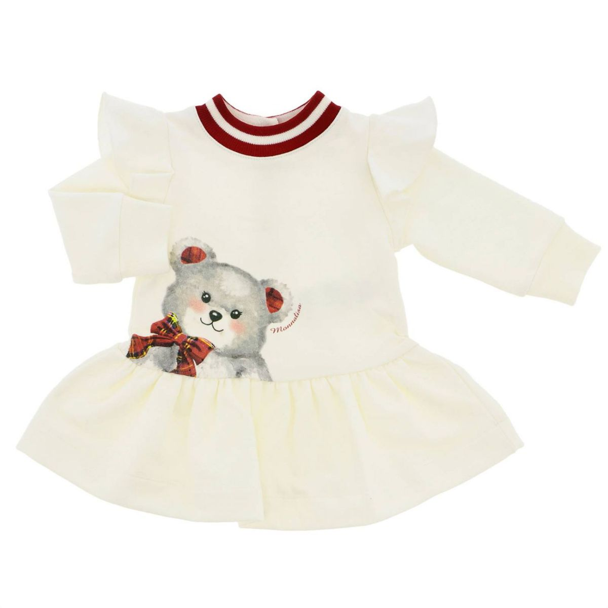 Cotton fleece dress with teddy bear print Cream Monnalisa
