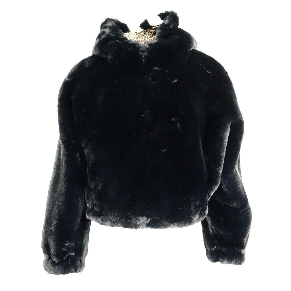 on sale 2620f 012c4 Bomber corto in pelliccia reversibile in animalier con cappuccio