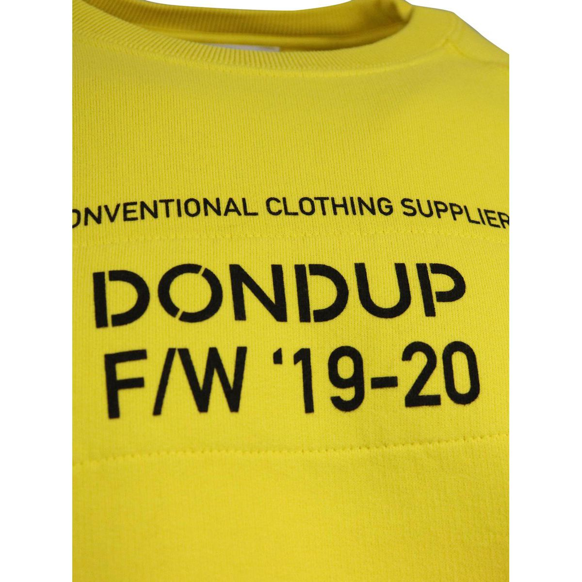 Crewneck sweatshirt with elasticated cuffs and waist Yellow Dondup