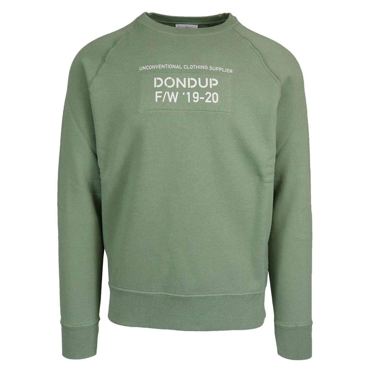 Crewneck sweatshirt with elasticated cuffs and waist Green Dondup
