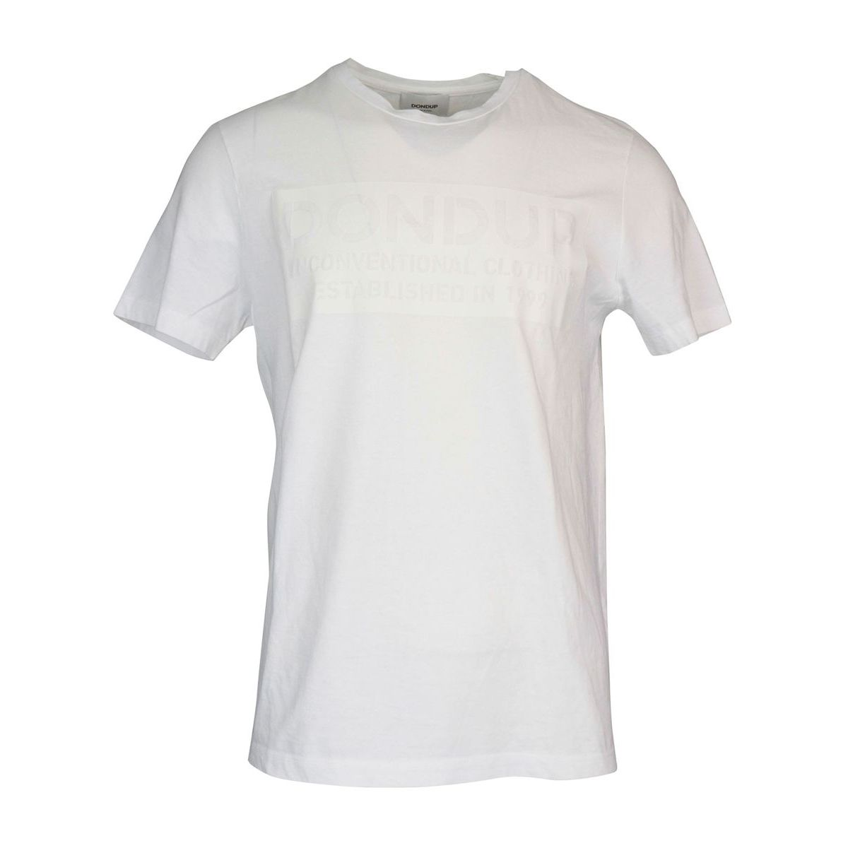Short sleeve cotton t-shirt with tone on tone print White Dondup