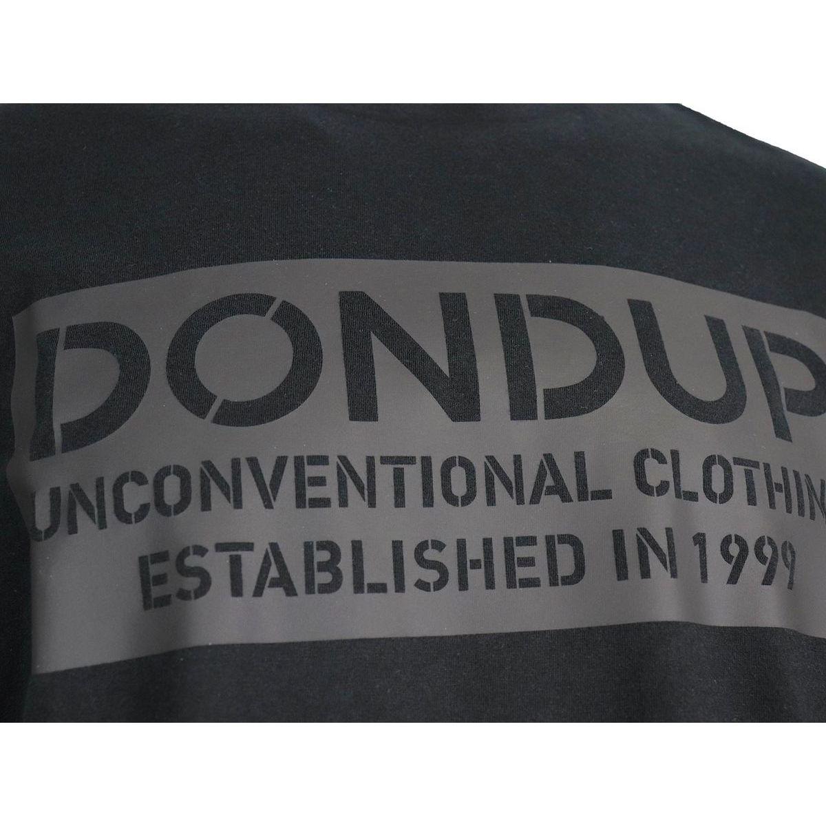 Short sleeve cotton t-shirt with tone on tone print Black Dondup