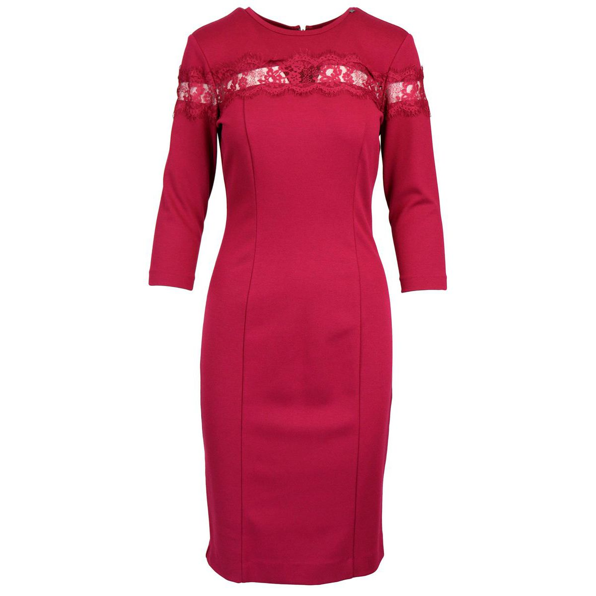 Three quarter sleeve sheath dress and lace detail Magenta Twin-Set