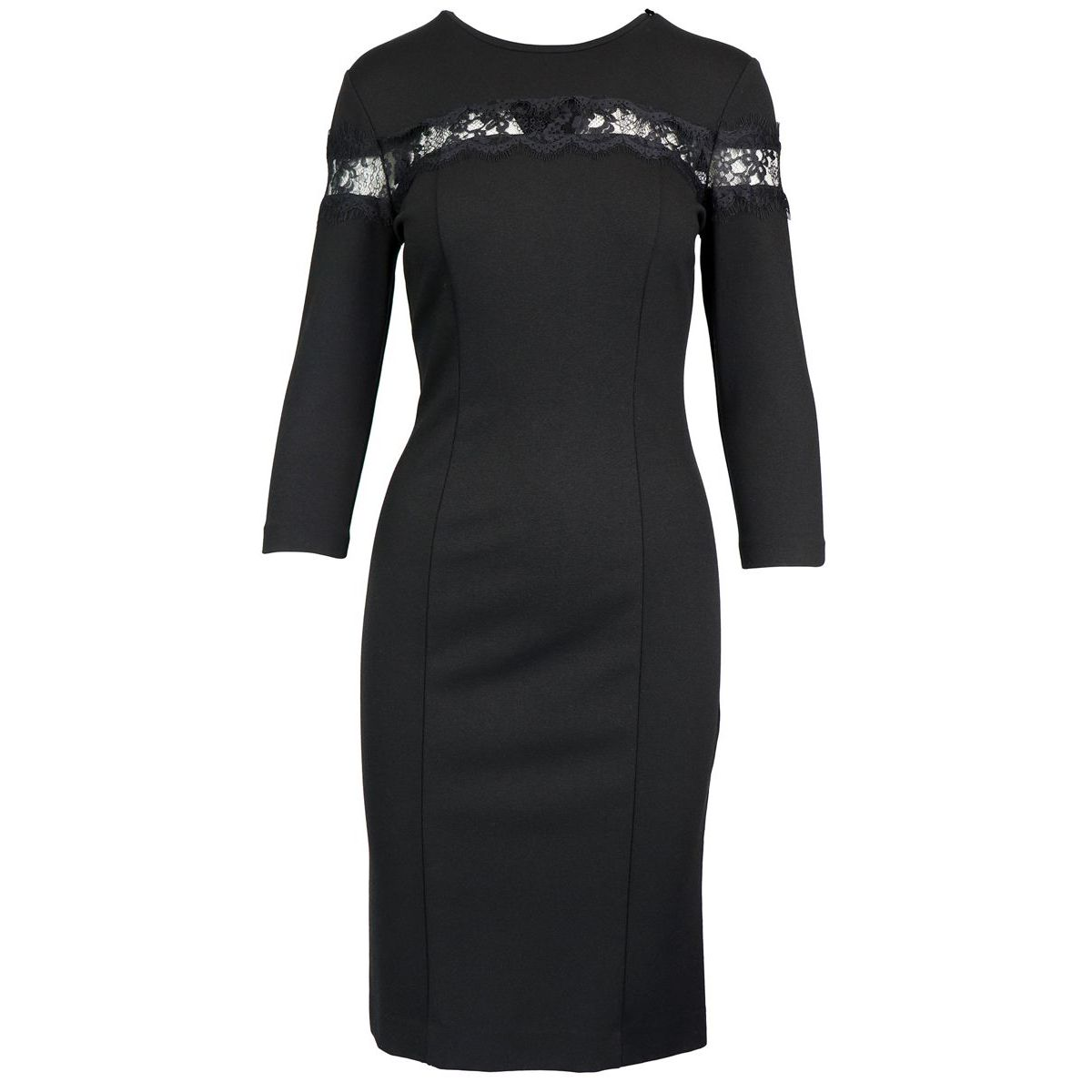 Three quarter sleeve sheath dress and lace detail Black Twin-Set