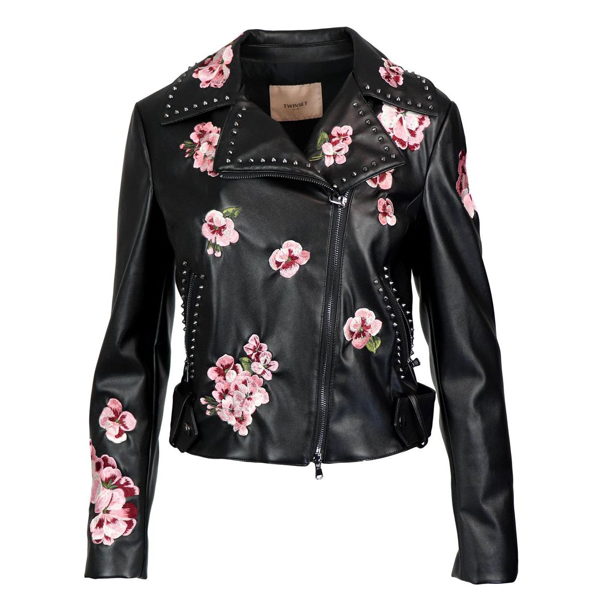 Faux leather jacket with flower embroidery Black Twin-Set